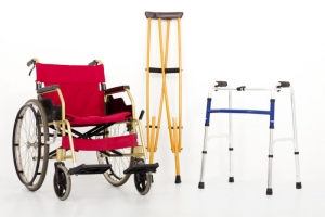 wheelchair, crutches, and walking aid